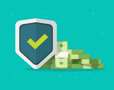 Financial insurance trust guarantees money protection, cash investment secure safety care warranty shield  flat cartoon illustration on color background