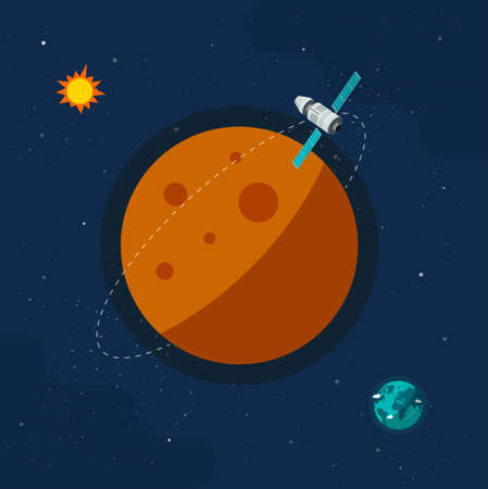 Spaceship satellite flying around another planet orbit in space universe vector flat cartoon illustration image