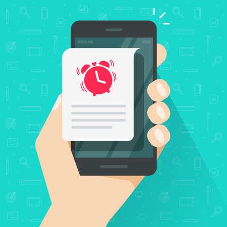 Reminder event deadline info message notice vector illustration on mobile phone