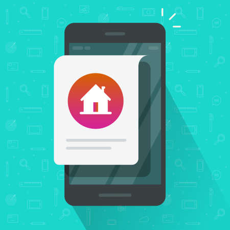 Home house notice online message on mobile phone vector flat cartoon illustration, smart cellphone notification digital app on device, rent or sell application concept image