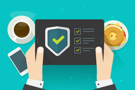 Security verification check digital test on tablet computer software guard online vector, internet virus attack web protection, secure safety guard technology, fraud spy checklist scan pc image
