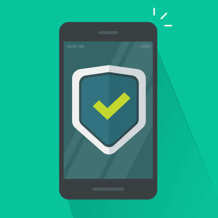Security protection shield on mobile phone guard online vector icon flat cartoon, internet web virus attack protection, secure safety smartphone cellphone technology, digital anti fraud connection 版權商用圖片 - 156110453