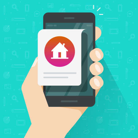 Home house info notice online message on mobile phone person hand vector