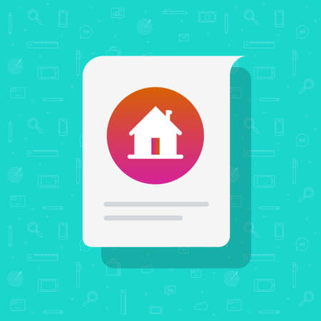 Home house message notice vector icon, residential property estate document with information message flat cartoon illustration, concept of rental or sell notice image