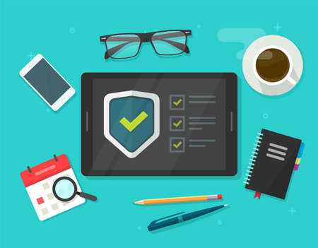 Security verification check list vector digital test, identity fraud spy checklist scan on tablet computer workdesk table desk guard online, internet virus attack web protection, secure guard image