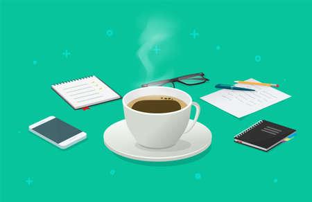 Coffee cup break on working desk business table isometric vector cartoon illustration, breakfast idea on work time, beverage mug concept image 일러스트