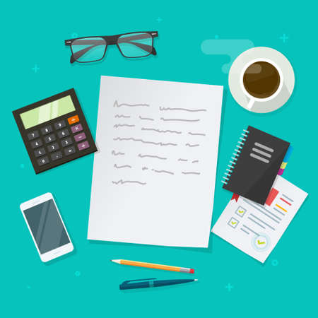 Writing text content vector on education working desk table above, creating essay document, journalism research workplace flat lay, author or editor desktop with glasses, pen, coffee cup image 일러스트