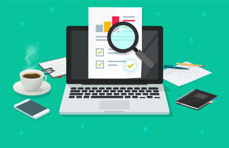 Financial audit research analysis sales data report online on computer vector, pc analytics document web report flat concept, accounting market statistic inspection, quality stats evaluation image