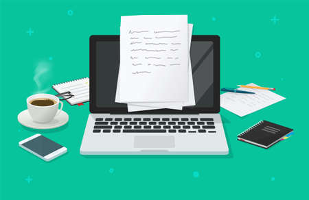 Writing text content creating vector on education working desk table online via computer laptop, creating essay document, journalism workplace illustration, author or editor desktop with glasses image Vecteurs
