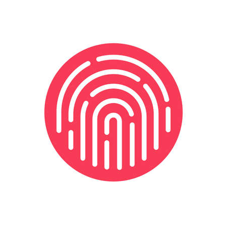 Fingerprint security button icon vector, touch finger thumb print id symbol for biometric thumbprint identification isolated clipart image