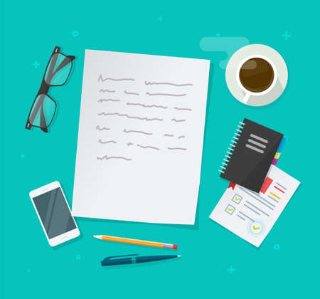 Writing creating text content vector on education working desk table above, essay document, journalism research workplace flat lay, author or editor desktop with glasses, pen, coffee cup image