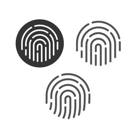 Fingerprint security button icon set vector, touch finger thumb print id symbol for biometric thumbprint identification isolated clipart collection line outline art image 일러스트