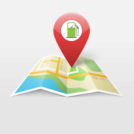 Gas petrol fuel station on map location pointer marker vector illustration, gasoline fuel navigation gps pin, refill pump position direction city roadmap sign modern design image