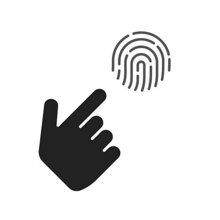 Fingerprint security and finger person hand info sign vector, touch finger thumb print id symbol for biometric thumbprint identification isolated clipart image 스톡 콘텐츠 - 156737617