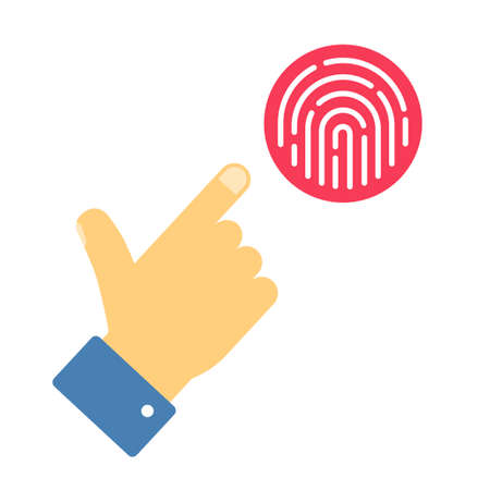Fingerprint security with finger person hand info sign vector flat cartoon illustration, touch finger thumb print id access symbol for biometric thumbprint identification isolated clipart image 스톡 콘텐츠 - 157105712