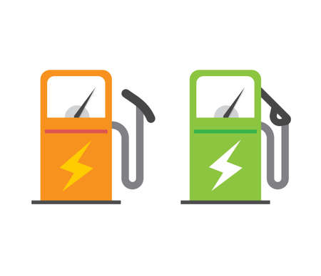 Electric vehicle charging station icon vector, electricity energy power fuel car refill pump sign symbol flat cartoon isolated pictogram image