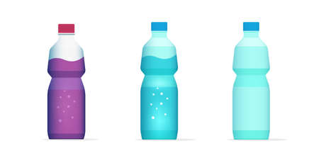 Bottle of water, juice drink beverage flat cartoon full and empty vector icon illustration, blank plastic bottled soda isolated clipart object image