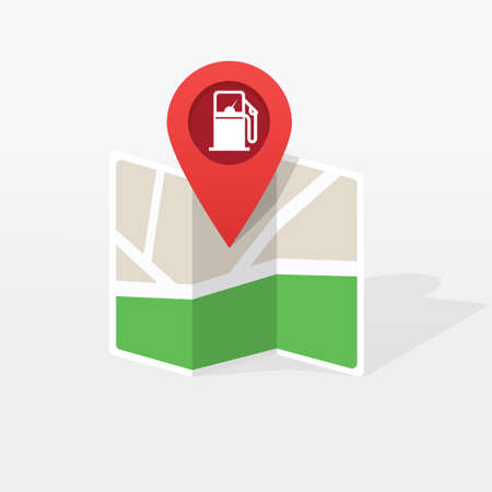 Gasoline petroleum fuel station on city map location pointer marker vector illustration flat cartoon, refill gas pump position direction roadmap, navigation gps pin, sign modern trendy design image 스톡 콘텐츠 - 157039977
