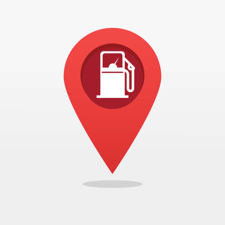 Gas petrol fuel station pin pointer marker shape icon vector, gasoline refill pump map location position place silhouette sign, locator symbol flat cartoon isolated pictogram image