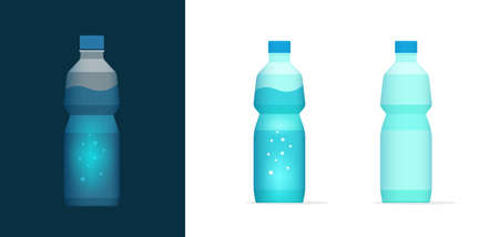 Water soda bottle vector icon clipart full and empty, blank plastic bottled mineral drink beverage flat cartoon illustration isolated on white and dark background image 스톡 콘텐츠 - 157027365