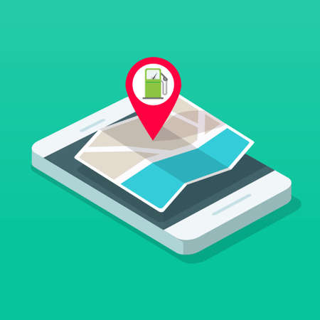 Gas petrol fuel station position on navigation map application on mobile phone smartphone vector isometric 3d style illustration, refuel pump gps location marker route vector isolated image