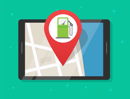 Online gas petrol fuel station map with navigation application on digital tablet computer, position pointer on roadmap refuel pump gps location marker route plan vector isolated image