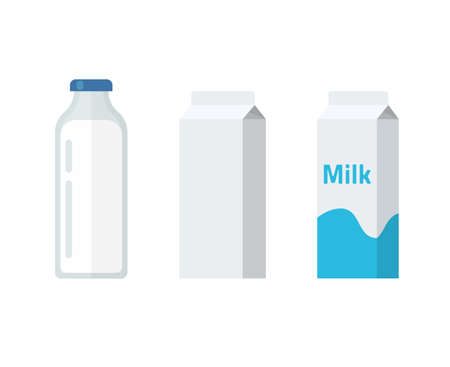 Milk bottle and carton package box vector flat cartoon illustration, dairy products package blank empty template isolated clipart image