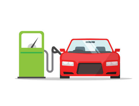 Car automobile refueling on gas fuel station icon vector flat cartoon illustration, vehicle refilling petrol design isolated image