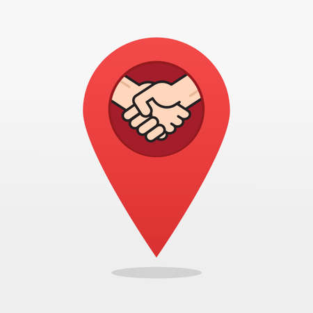 Partnership office map pin pointer icon flat cartoon symbol, concept of partner deal place meeting point with shaking hands label, deal marker, peace or union location modern design sign image