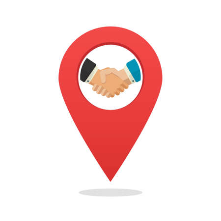 Partner or partnership office position location marker icon flat cartoon, concept of shaking hands deal place meeting map pin pointer  idea label isolated, trust relationship sign idea image 일러스트