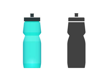 Sport water bottle vector flat icon and shape silhouette symbol clipart cartoon illustration isolated image 스톡 콘텐츠 - 157437370