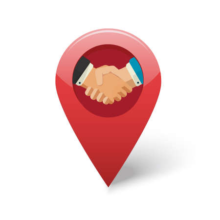 Partner business shaking hands icon, client partnership meeting position location marker label flat, idea of handshake deal place map pin pointer isolated, trusted employment office sign Vettoriali
