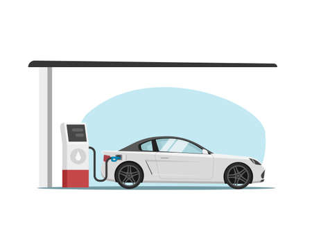 Petrol gas station with car automobile refueling vector flat cartoon illustration, vehicle refilling fuel or petroleum side view isolated image 스톡 콘텐츠 - 157623265