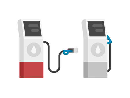 Gas petrol fuel station vector modern isolated flat cartoon illustration, gasoline auto refill oil pump gray red color clipart design image