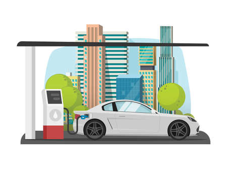 Car refueling on city petrol gas fuel station vector flat cartoon style illustration, automobile vehicle refilling petroleum on town street landscape modern design image 일러스트