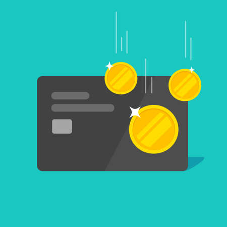 Cash back money bonus or reward income on credit bank debit card vector flat cartoon isolated modern design, refund return idea image 스톡 콘텐츠 - 157872765