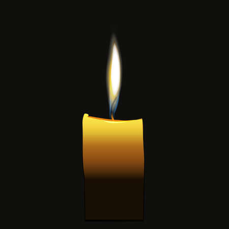 Candle flaming vector isolated on dark night background realistic design image
