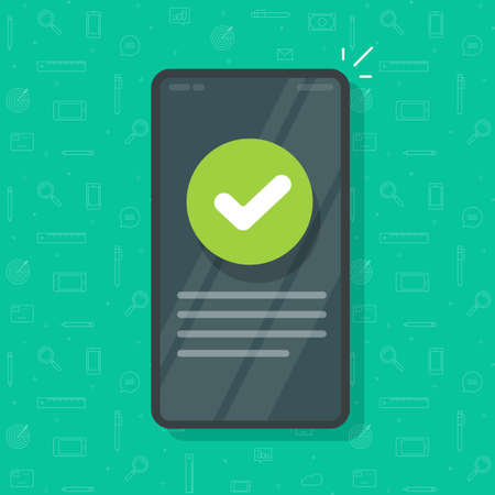 Phone with check mark tick as updated info message vector, mobile cellphone smartphone validation confirmation icon, concept of correct choice vote and approved checkmark, complete done task image