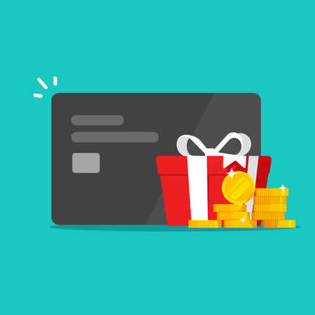Money reward gift perks, bonus cash on credit bank card income vector, financial award program prize vector, give away promotion adea, present box perks, surcharge or allowance payment concept image