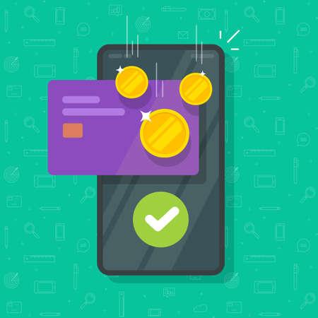 Money bonus reward on mobile phone screen on credit bank card vector