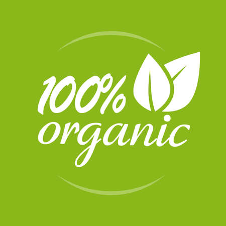 Organic natural food logo vector icon label with leaves isolated on green background, 100 percent eco meal packaging quality sticker emblem design image 스톡 콘텐츠 - 158383681