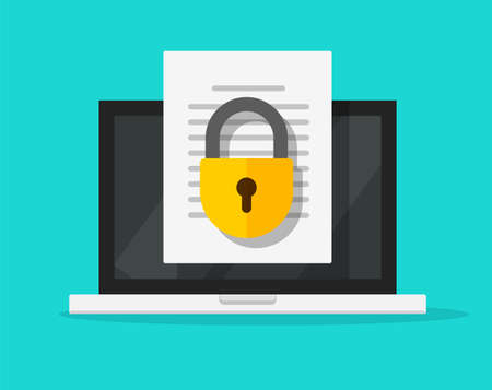 Secure confidential document online access with private lock on laptop computer text file vector flat icon, digital web privacy internet protection, electronic safety doc data padlock symbol image 스톡 콘텐츠 - 158351100