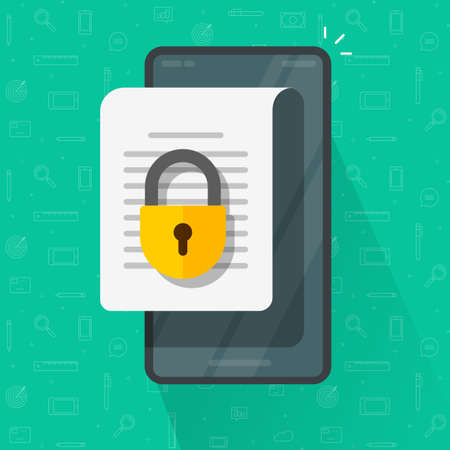 Mobile Secure confidential document online access with private lock, permission denied padlock on phone smartphone text file vector flat, digital web privacy internet protection, electronic data