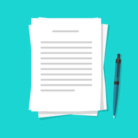 Writing text letter content on paper document sheets via pen vector flat cartoon illustration, idea of book or essay creation, note message pages image