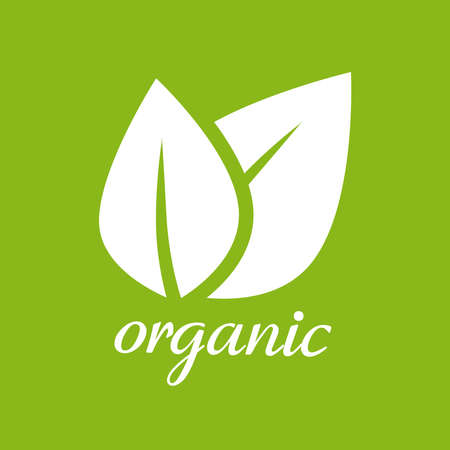 Organic product of food leaves green sticker label vector, idea of natural eco logotype for healthy production badge, nutrition sprout herb isolated mark clipart image