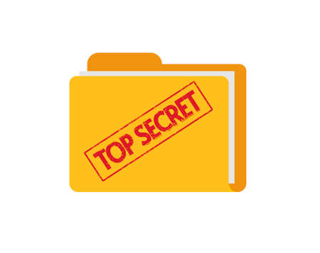 Top secret document files folder with confidential information flat icon, concept of spy classified report with stamp image 일러스트