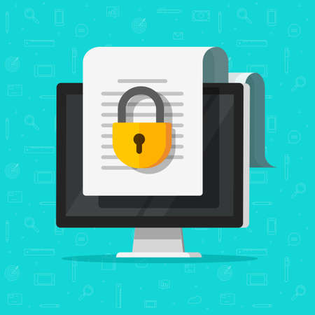 Locked confidential secure document online access on website with private lock on computer pc file vector flat icon, digital web internet privacy protection, electronic closed safety data image