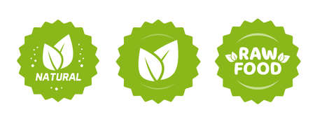 Green natural and raw food nutrition label with leaves sticker vector icon for organic farm product badge stamp isolated, healthy nutrition meal packaging rosette sticker emblem clipart set image