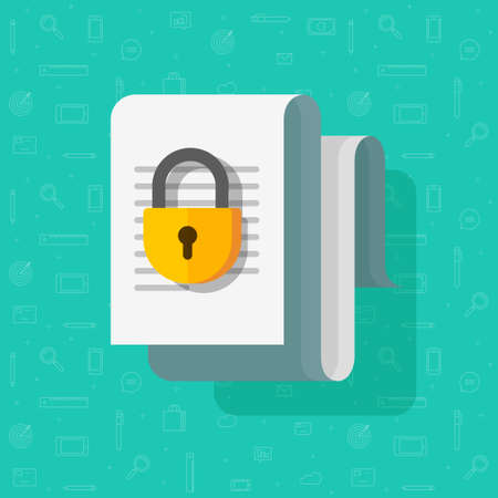Access closed or locked for document file vector flat cartoon icon, permission concept, confidential info text doc, paper sheet page protected with padlock, idea of data protection, private info