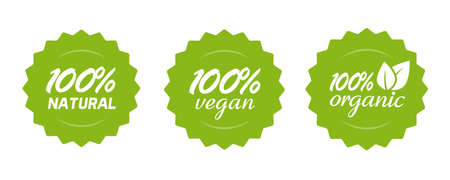 Organic natural and vegan food or nutrition icon label vector, 100 percent healthy meal, modern green badge for product sticker with leaves isolated tags collection clipart image